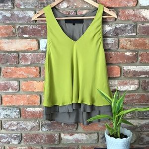 Leyendecker 2 Layer Lime & Grey Silk Dressy Tank